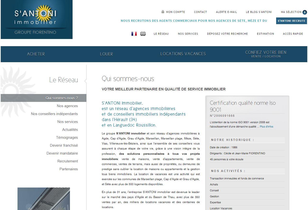 page de présentation agence santoni