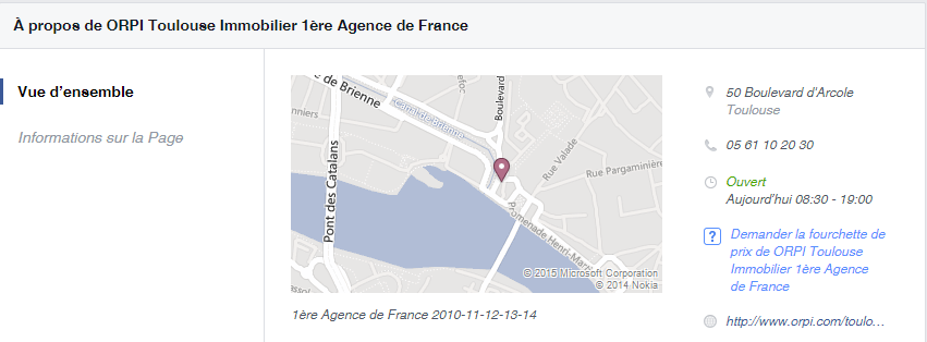 Information sur la page Orpi immobilier - Facebook