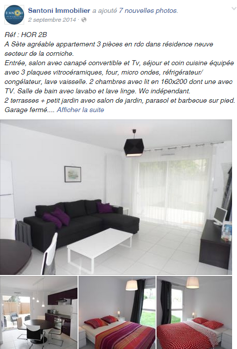 Annonce immobilière Facebook santoni immobilier