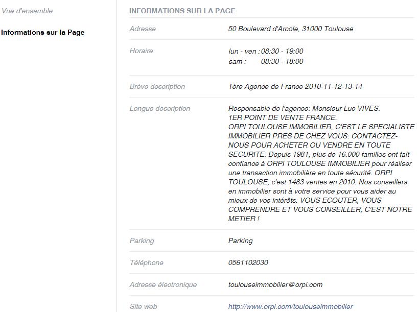 Information sur la page Facebook Orpi immobilier