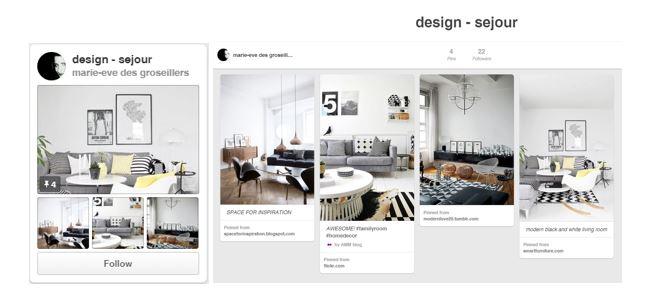 visuel - Board conseils immobilier - design séjour- ligne éditoriale agence immobilière pinterest