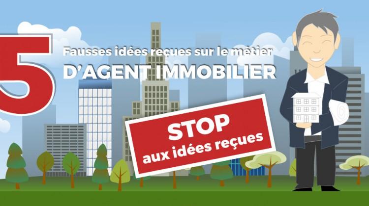 Infographie illustrant les-idees-recues-du-metier-agent-immobilier