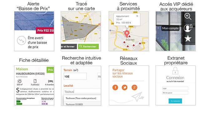 illustration - modules sites immobiliers géolocalisation, formulaires,  coup de coeur tracé sur la carte,