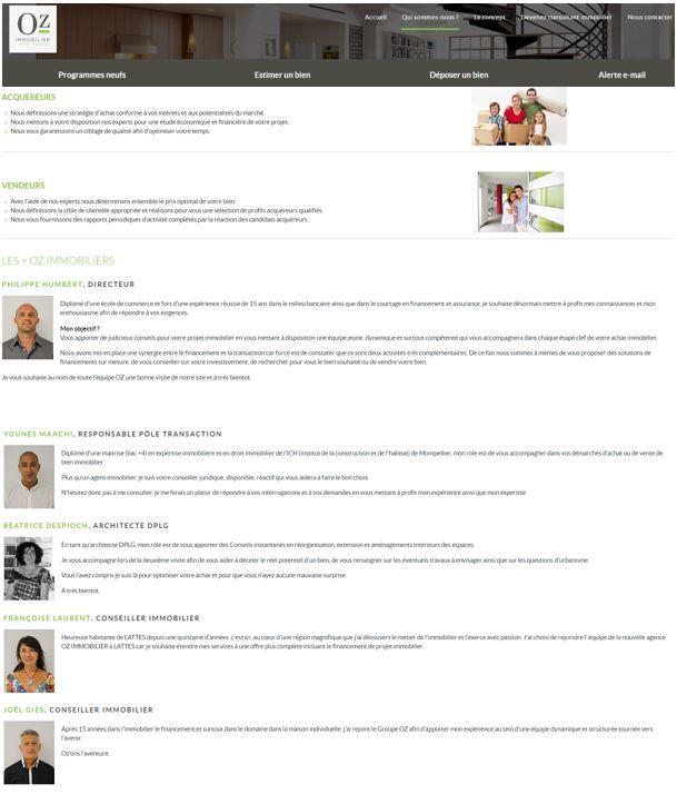 page présentation agence immobilière OZ IMMOBILIER