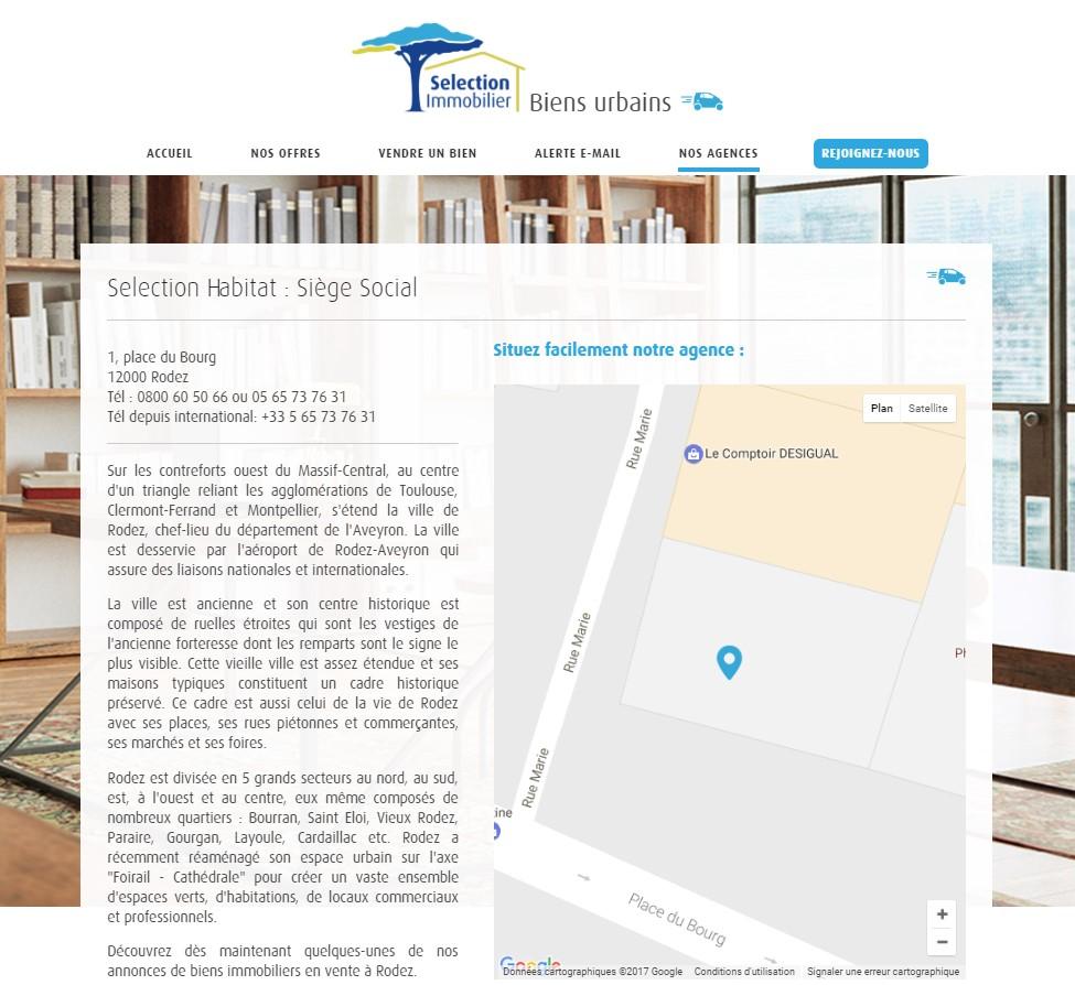 page présentation de l'agence immobiliere site immobilier selection immobilier
