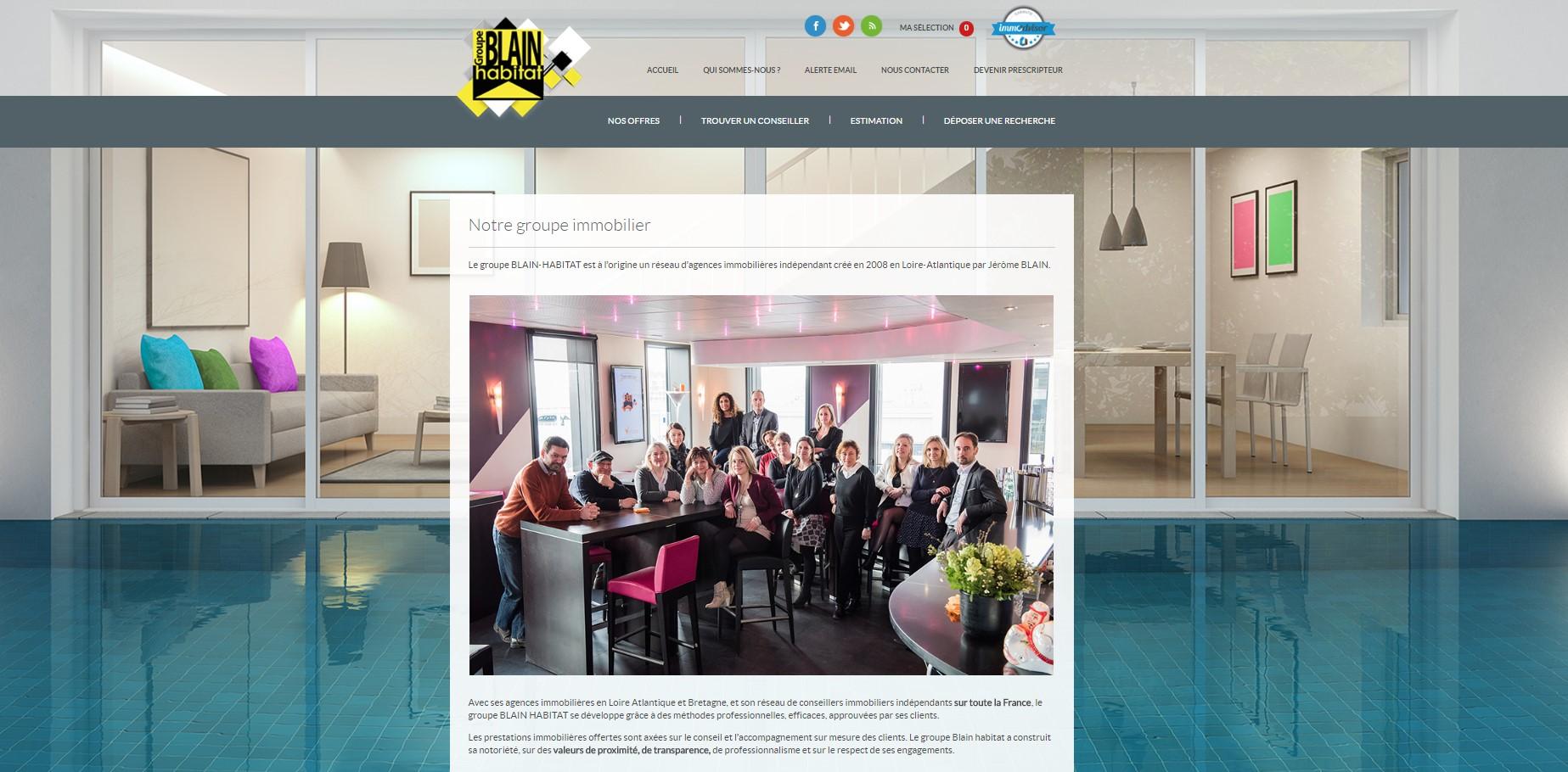 page présentation de l'agence immobiliere site immobilier Blain immobilier