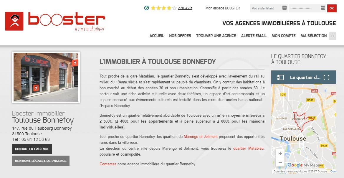 page présentation de l'agence immobiliere site immobilier Booster