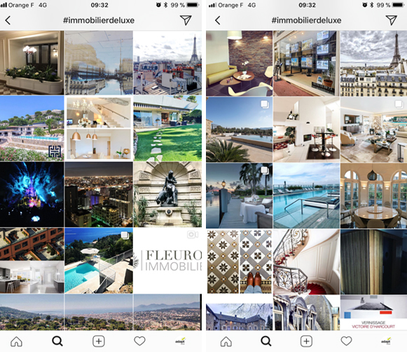 instagram immobilier hashtag luxe